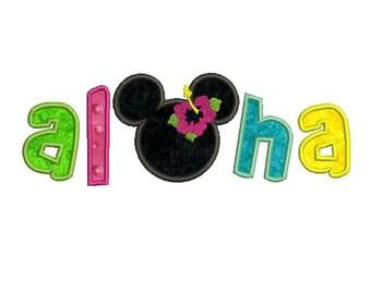 Aloha sayings Summer Beach Applique - Machine Embroidery Digital Design - Children embroidery design