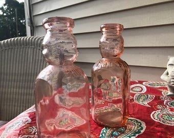 Vintage rose pink glass milk jars