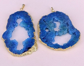 2-6-10pcs Fashion geode quartz stone druzy pendant, dark blue drusy quartz gold plated gemstone pendants