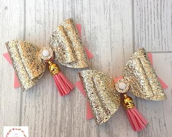 Gold and pink hair bow, Hair clip, Hair bow, Girls hair bow, Hair accessories.