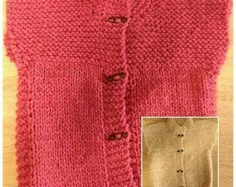 Hand knit childrens vests. Pure New Zealand wool.
