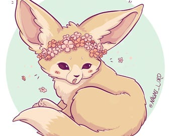 "Flower Crown Fennec Fox! Sticker and/or Print 6x6"" 8x8"""