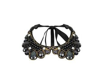 CLEOPATRA- Neck tie jewelled fake collar