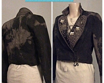 Jem and studs Hand made distressed bleached Jean jacket