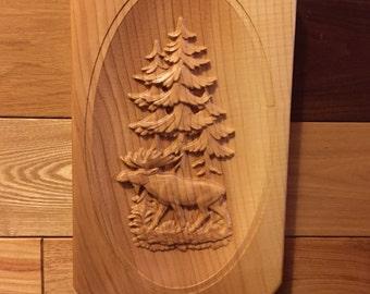Moose in Pine Trees Ash Plaque