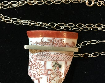 Antique Chinese Pottery Necklace Sterling Silver Necklace Shard Necklace #20