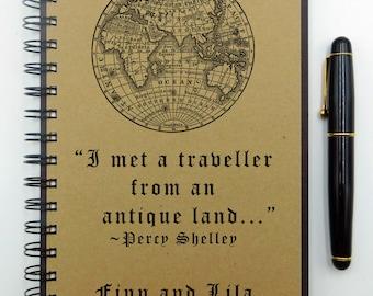 Travel Notebook, Travel Journal, Custom Journal, Percy Shelley, Custom Notebook, Travel Diary, Spiral, Personalized