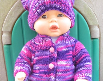 22 inch, Baby Born Doll Clothes. Melange Jacket, Hat and Boots. Knitted Doll Clothes.