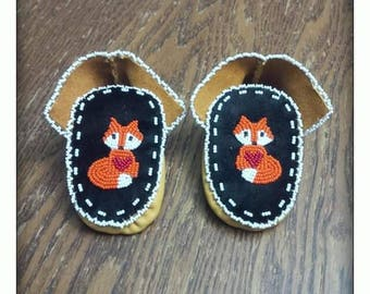 Native American indigenous handmade baby newborn moccasins