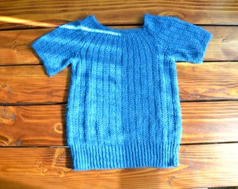 Hand Knitted Short Sleeved Wool Sweater in Brilliant Blue