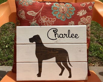 Great Dane wooden sign