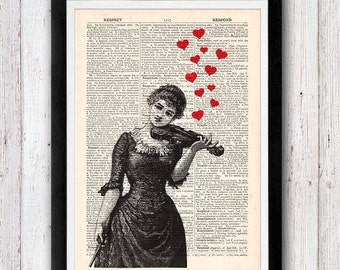 Victorian girl Music heart vintage dictionary page book art print