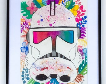 Stormtrooper || Original Watercolor and Gouache Painting || 11x14 inches framed