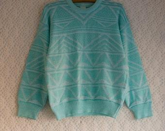 Vintage 1980s pastel turquoise mint geometric jumper, Medium UK 12-14