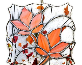 Stained glass maple leaf panel window decor tiffany