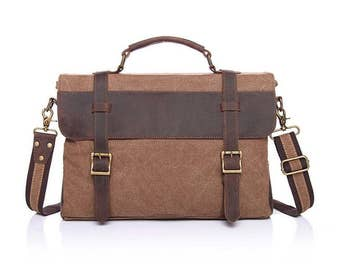 Beige Brown Canvas and Leather Messenger Bag With Strap & Handle Notebook/Tablet, Business Laptop, Perfect Gift, Men Ladies Suitcase Luggage