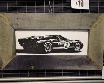 1969 Ford GT40 - woodcut print