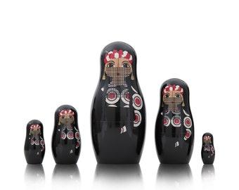 Matryoshka Land Dolls: Egypt, Native America, Thailand, Germany, Russia