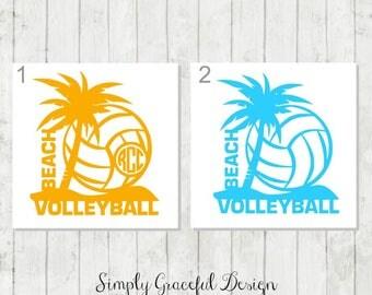 Beach Volleyball Decal, Volleyball Monogram, Beach Sports Decal, Beach Lover Gift, Volleyball Coach Gift, Palm Tree Decal, Sports Monograms