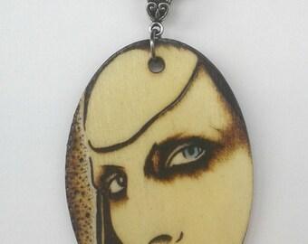 Marilyn Manson Antichrist Superstar Woodburned Portrait Oval Necklace