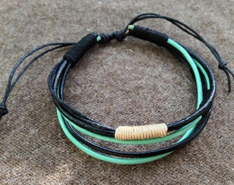 Bracelet turquoise beige black leather made adjustable hand gift man