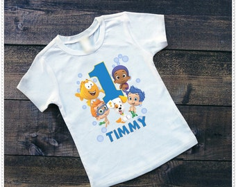 Boys Bubble Guppy BirthdayBodysuit size 6-24 Month; Tee Size 2T and Up; FREE Personalization; Any Age