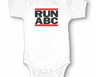 RUN ABC, RUn DMC Rap, Hip Hop, Music, 80s, Retro, Funny, Infant, Baby One-Piece Bodysuit, Creeper 0-3m 3-6m 6-9m 12m or 18m