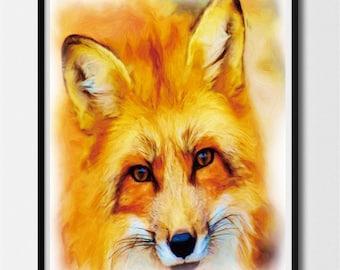 Fox Art Print, Fox  Wall Art, FOX  Face, Fox Art Print, Fox  Print