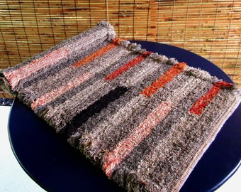 Handwoven Chenille Rug, Floor Textile, Using Tapestry Interlocking Weaving Technique Free Shipping USA
