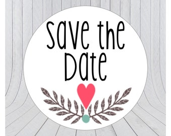 24 Save the date stickers, Engagement stickers, Save the date labels, Envelope seals, 014