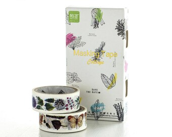 2-IN-1 Forest Japanese Washi Tape, Masking Tape, Planner Stickers,Crafting Supplies,Scraping Booking,Adhesive Tape,Floral Washi Tape