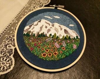 Hand-embroidered Mt. Rainier