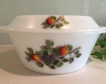 Vintage Arcopal France - 'Fruits de France' Large Casserole Dish
