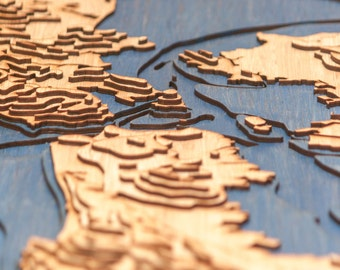 3D Laser Cut Topographic Map of the San Francisco Bay