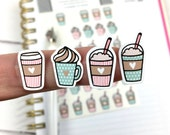 Coffee Stickers, Cute Stickers, Pink and Mint, Planner Stickers, Bujo Stickers, Sheet of 36 Stickers