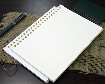 A5 reinforced graph filler paper, 20-ring, fountain pen friendly, 80 sheets/pack.