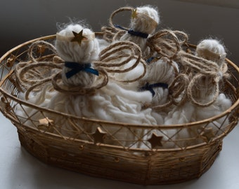 Handmade wool Angels set of 6 in a basket