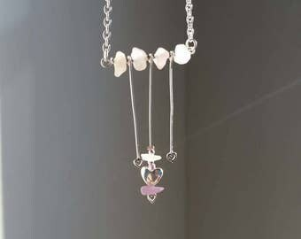 Rose Quartz, My Love, Silver Necklace, 16 inch