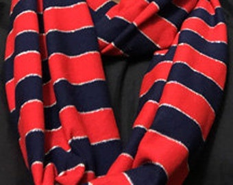 Blue and Red Sparkle Stripe Infinity Scarf