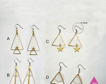 ultra simple geometry mother-of-Pearl and triangle copper chic crochet hypoallergenic earrings
