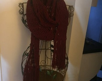 Super long maroon hand croctheted scarf