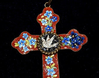 Dove  Vintage Victorian Micro Mosaic Cross -  Large