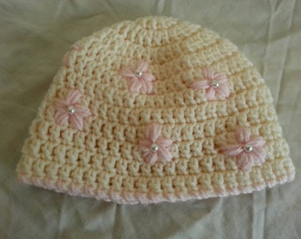 Pink and Cream Pearl Flower Baby Hat