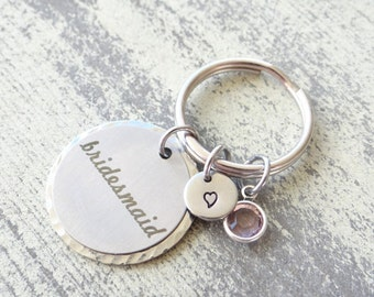 Bridesmaid keychain, bridesmaid gift, bridesmaid , stamped keychain, bridal jewelry, wedding party, wedding