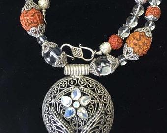 Adya Series – Silver Filigree Rudraksha Necklace