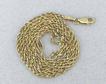 Stunning Solid 10k Yellow Gold Rope Chain Necklace! 18 Inches!