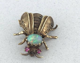 Incredibe Victorian Era Solid 14k Yellow Gold Opal and Ruby Bee Bug Insect Pin!