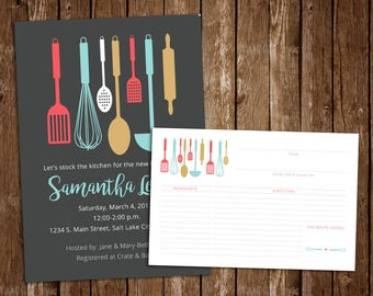Kitchen Bridal Shower Invitation & Recipe Card, Kitchen Shower Invite, Recipe Card and Invitation - DIY Printable JPEG Download