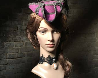 Ladies, three-cornered hat, hat, Rococo, purple, Gothic, WGT, Fascinator, has pirate, mini Dreispitz, Baroque, pirate, masked ball, Outlander