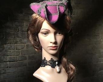 Ladies, three-cornered hat, hat, Rococo, purple, Gothic, WGT, Fascinator, unique, mini Dreispitz, Baroque, pirate, masked ball, Outlander